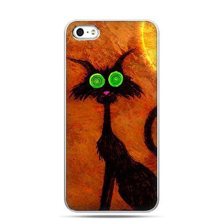Etui na telefon Halloween kot z zielonymi oczami