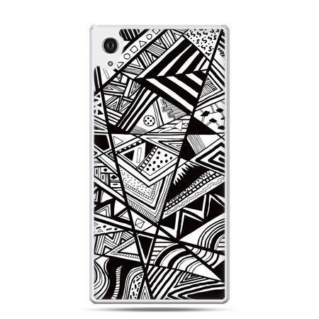 Etui na Xperia M4 Aqua czarno białe trójkąty