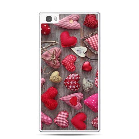 Huawei P8 Lite etui pluszowe serduszka