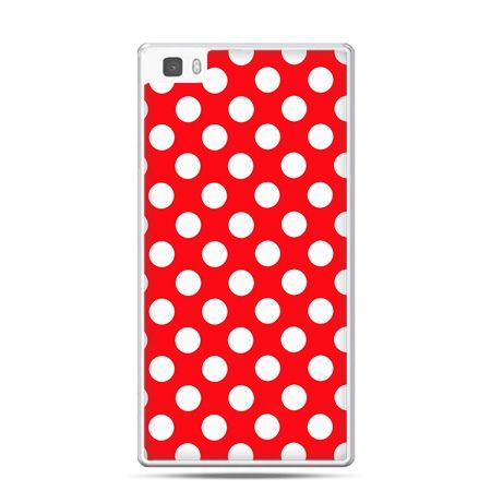 Huawei P8 Lite etui czerwona polka dot