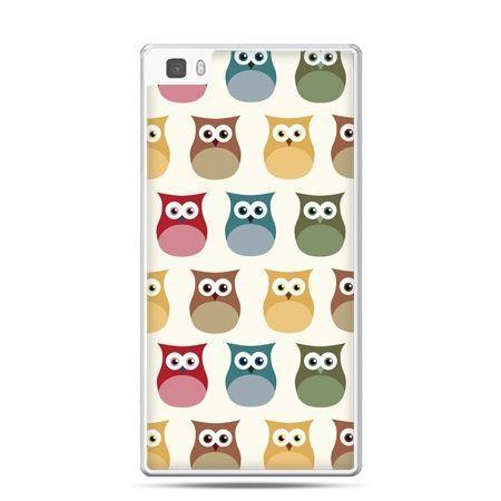 Huawei P8 Lite etui kolorowe sowy