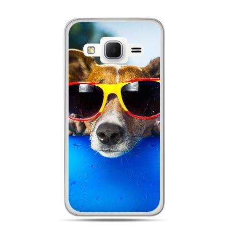 Galaxy Grand Prime etui pies w kolorowych okularach