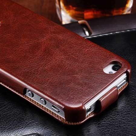 iPhone 4 4s etui skórzane z klapką brązowy