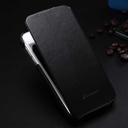 iPhone 5 5s etui skórzane z klapką czarny
