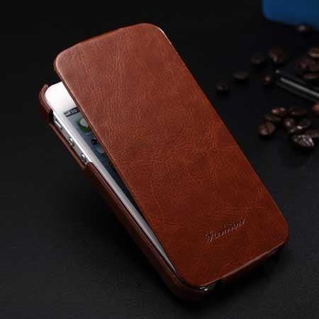 iPhone 5 5s etui skórzane z klapką brązowy