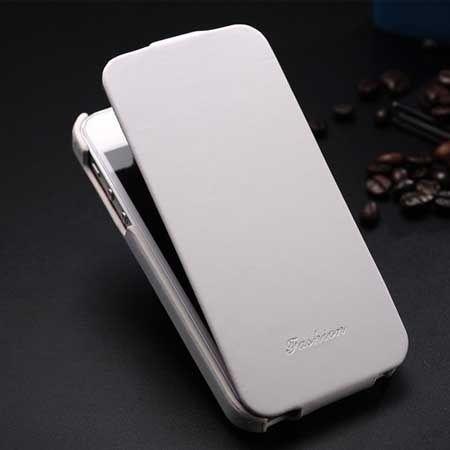 iPhone 5 5s etui skórzane z klapką biały