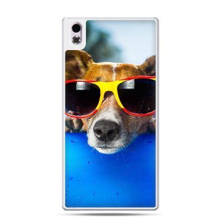 HTC Desire 816 etui pies w kolorowych okularach