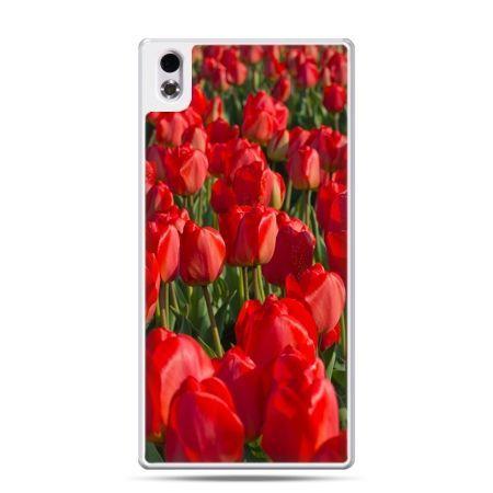 HTC Desire 816 etui czerwone tulipany