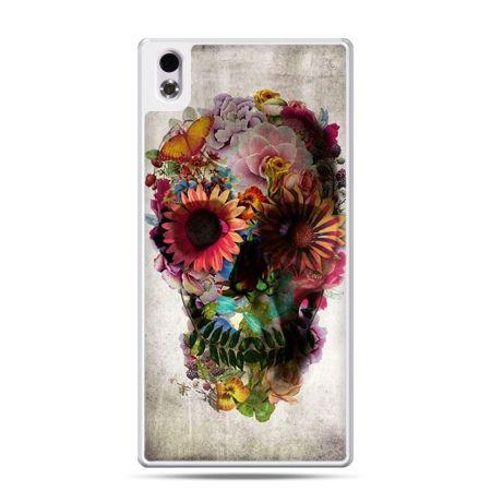 HTC Desire 816 etui czaszka z kwiatami