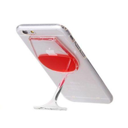 iPhone 6 / 6s etui z płynem w środku -  wino - podpórka