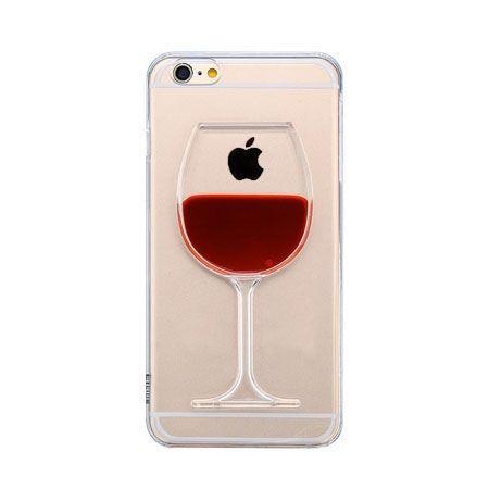 iPhone 6 plus etui z płynem w środku czerwone wino