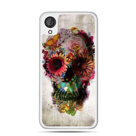 Etui dla Desire 820 czaszka z kwiatami