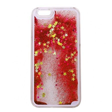 iPhone 4, 4s etui z ruchomym płynem w środku Stardust czerwony brokat.