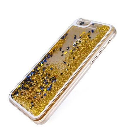 iPhone 5, 5s etui z ruchomym płynem w środku stardust złoty brokat.