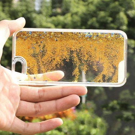 iPhone 6S Plus etui z ruchomym płynem w środku stardust złoty brokat.