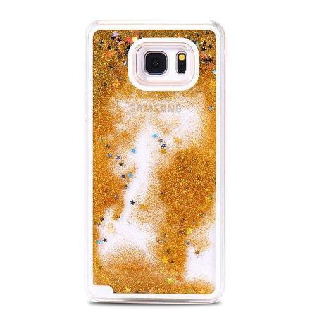 Galaxy S6 etui Stardust z ruchomym płynem w środku złoty brokat.
