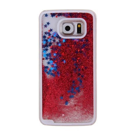 Galaxy S6 etui Stardust z ruchomym płynem w środku czerwony brokat.