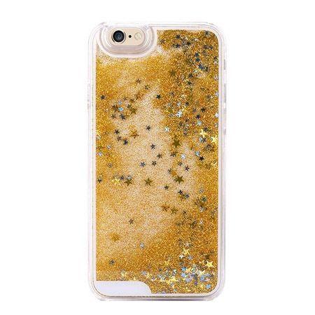 iPhone 4, 4s etui z ruchomym płynem w środku stardust złoty brokat.