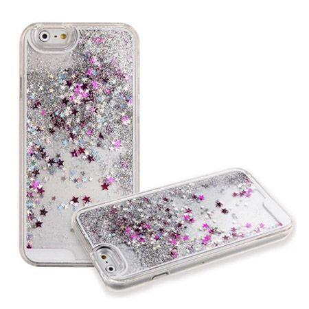 iPhone 6 PLUS, etui z ruchomym płynem w środku Stardust srebrny brokat.