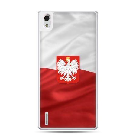 Etui na telefon Huawei P7 patriotyczne - flaga Polski z godłem