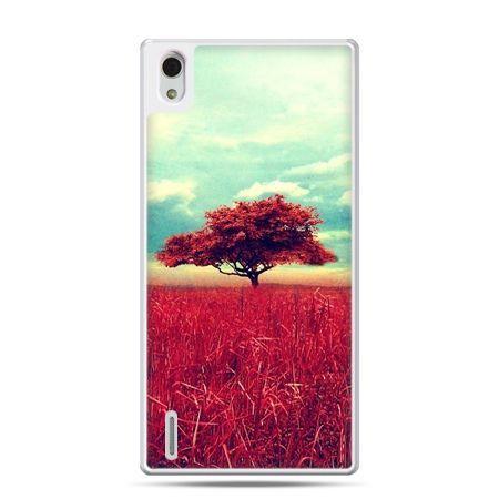 Huawei P7 etui czerwone drzewo