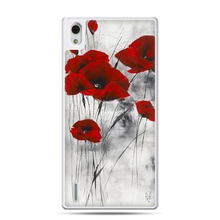 Huawei P7 etui na telefon czerwone maki