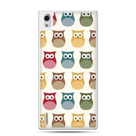 Huawei P7 etui kolorowe sowy