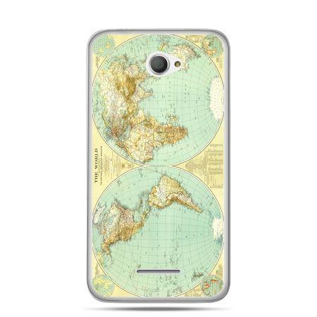 Xperia E4 etui mapa świata