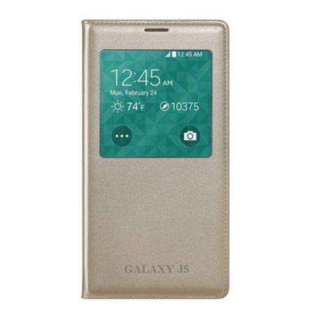 Galaxy J5 etui Flip S View z klapką złote.