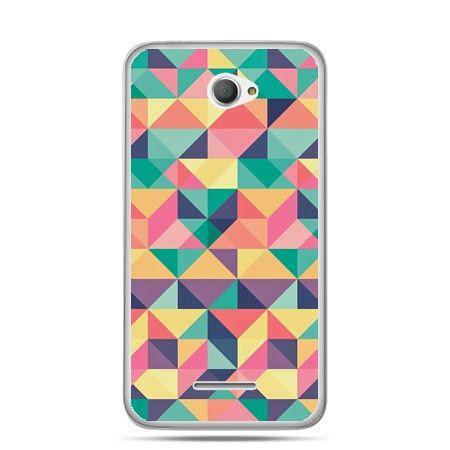Xperia E4 etui kolorowe trójkąty