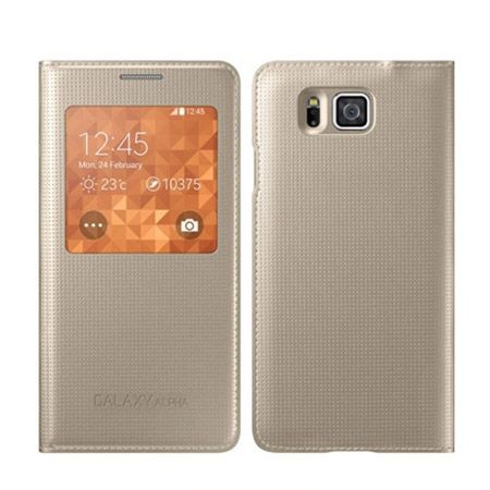 Galaxy Alpha Flip S View z klapką złote.