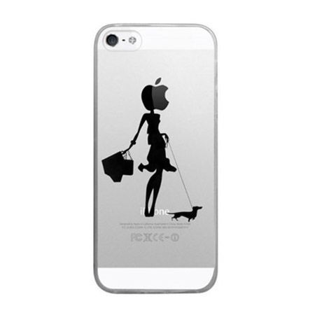iPhone 6 ultra slim przezroczyste etui z nadrukiem kobieta z psem.