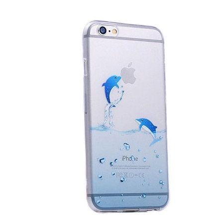 iPhone 6 ultra slim przezroczyste etui z nadrukiem delfiny.
