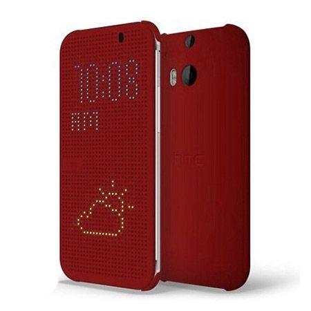 HTC Desire 620 etui Flip Dot View czerwone z klapką.