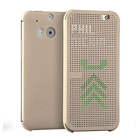 HTC Desire 620 etui Flip Dot View złote.