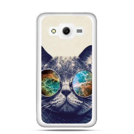 Etui na Galaxy Core 2 Kot w tęczowych okularach
