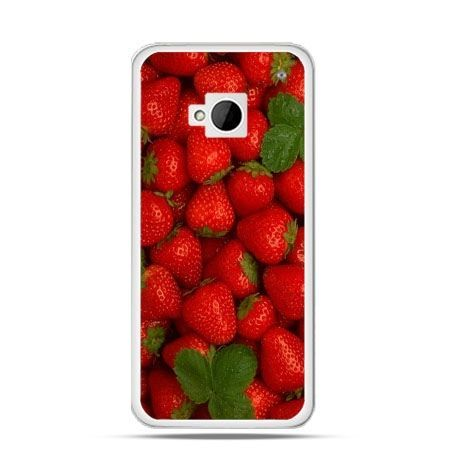 Etui na HTC One M7 Czerwone truskawki
