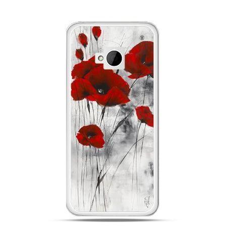 Etui na HTC One M7 Czerwone maki