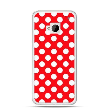 Etui na HTC One M7 Czerwona polka dot
