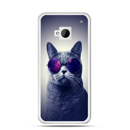 Etui na HTC One M7 Kot hipster w okularach