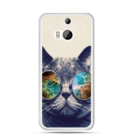 Etui na HTC One M8 Kot w tęczowych okularach