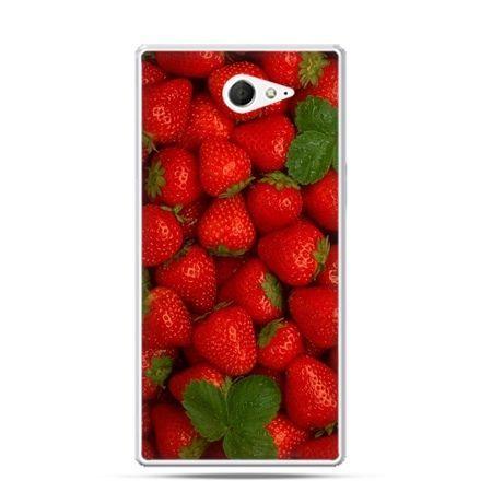 Sony Xperia M2 etui truskawki