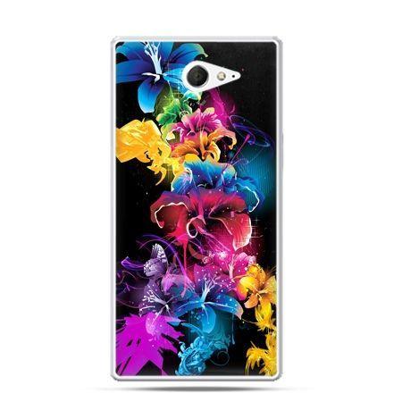 Sony Xperia M2 etui kolorowe kwiaty