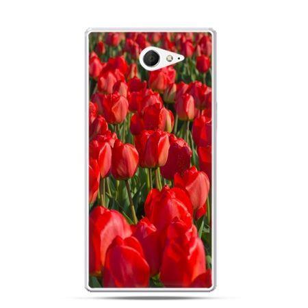 Sony Xperia M2 etui czerwone tulipany