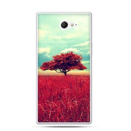 Sony Xperia M2 etui czerwone drzewo