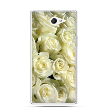 Sony Xperia M2 etui białe róże