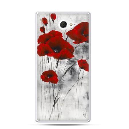 Sony Xperia M2 etui czerwone maki
