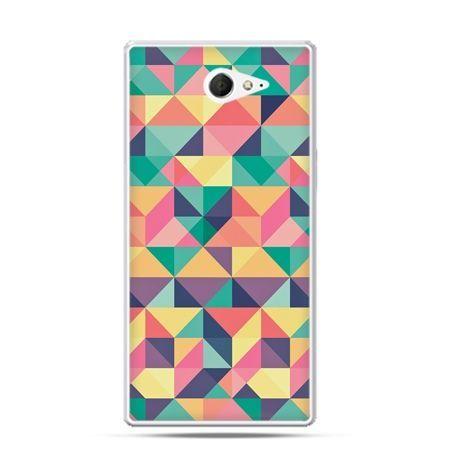 Sony Xperia M2 etui kolorowe trójkąty