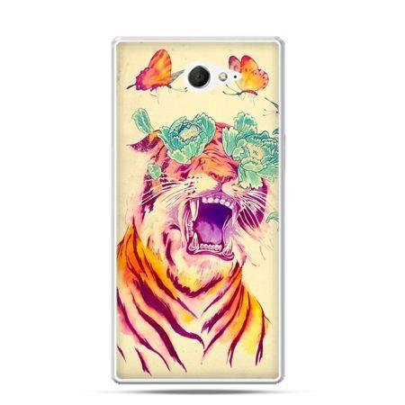 Sony Xperia M2 etui tygrys z motylami
