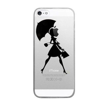iPhone 5 / 5s ultra slim silikonowe przezroczyste etui kobieta z parasolem.